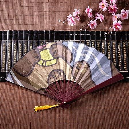 Ventiladores plegables con estuche Una linda nutria de mar flotando en el agua con un marco de bambú Borla colgante y bolsa de tela Ventiladores plegables con estuche Ventilador chino grande Abanico: