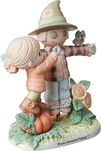 Precious Moments Bisque Porcelain Girl with Scarecrow Figurine, Multi