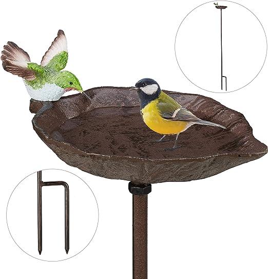 Relaxdays Bebedero Pájaros con Estaca, Hierro Fundido, Marrón, 1 m de Alto: Amazon.es: Jardín