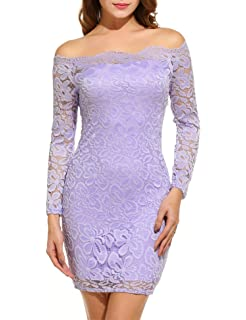 ACEVOG Womens Off Shoulder Lace Dress Long Sleeve Bodycon Cocktail Party Wedding Dresses