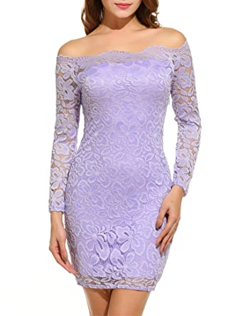 Acevog Womens Off Shoulder Lace Dress Long Sleeve Bodycon Casual Dresses Small Pink Purple