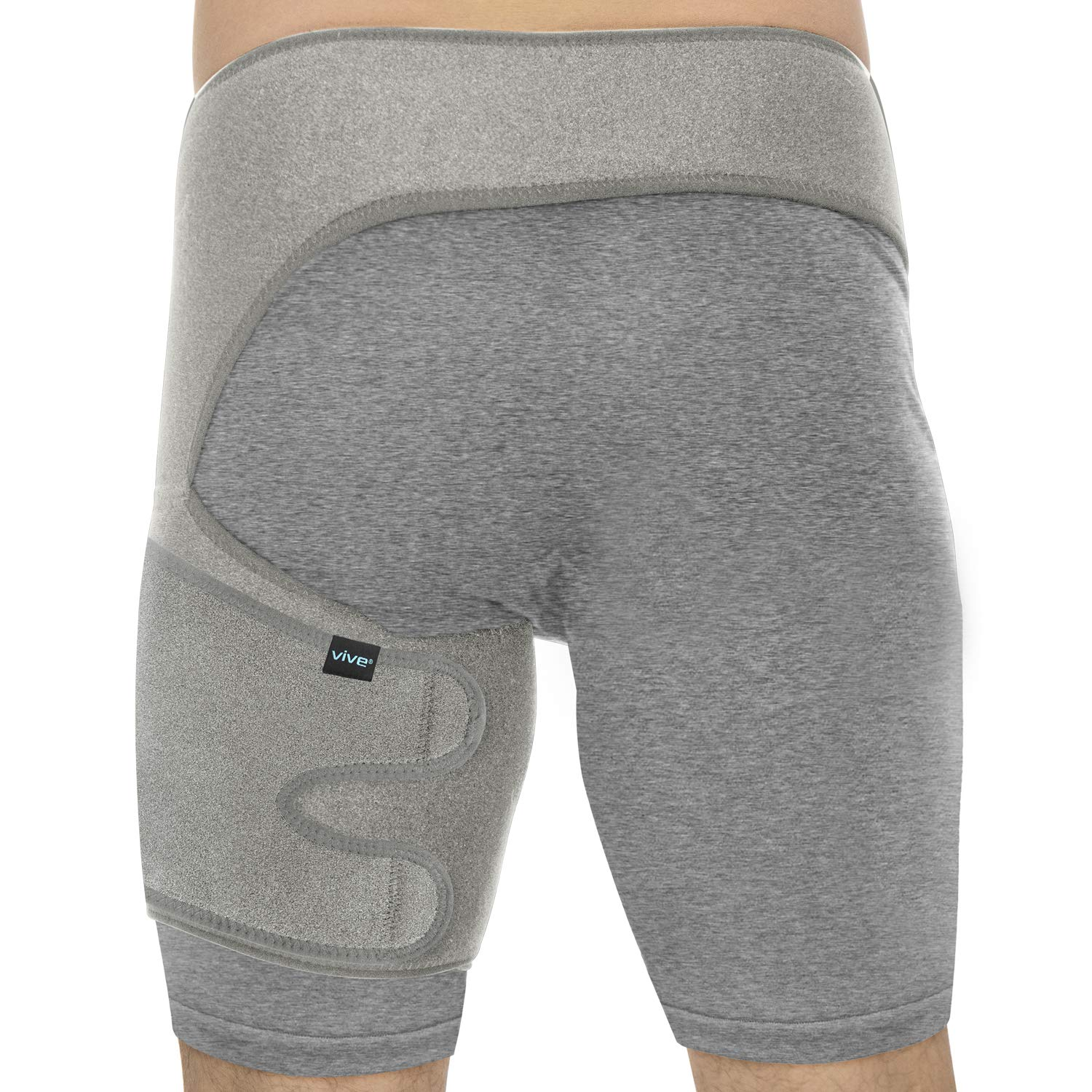Vive Groin & Hip Brace - Sciatica Wrap for Men & Women - Compression Support for Nerve Pain Relief - Thigh, Hamstring Recovery for Joints, Flexor Strains, Pulled Muscles (Gray, Waist: 25''-48'')