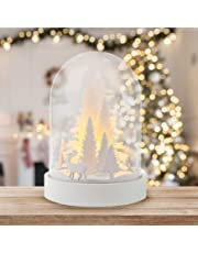 TRIXES LED Scene Decoration – White Wooden Light Up Dome