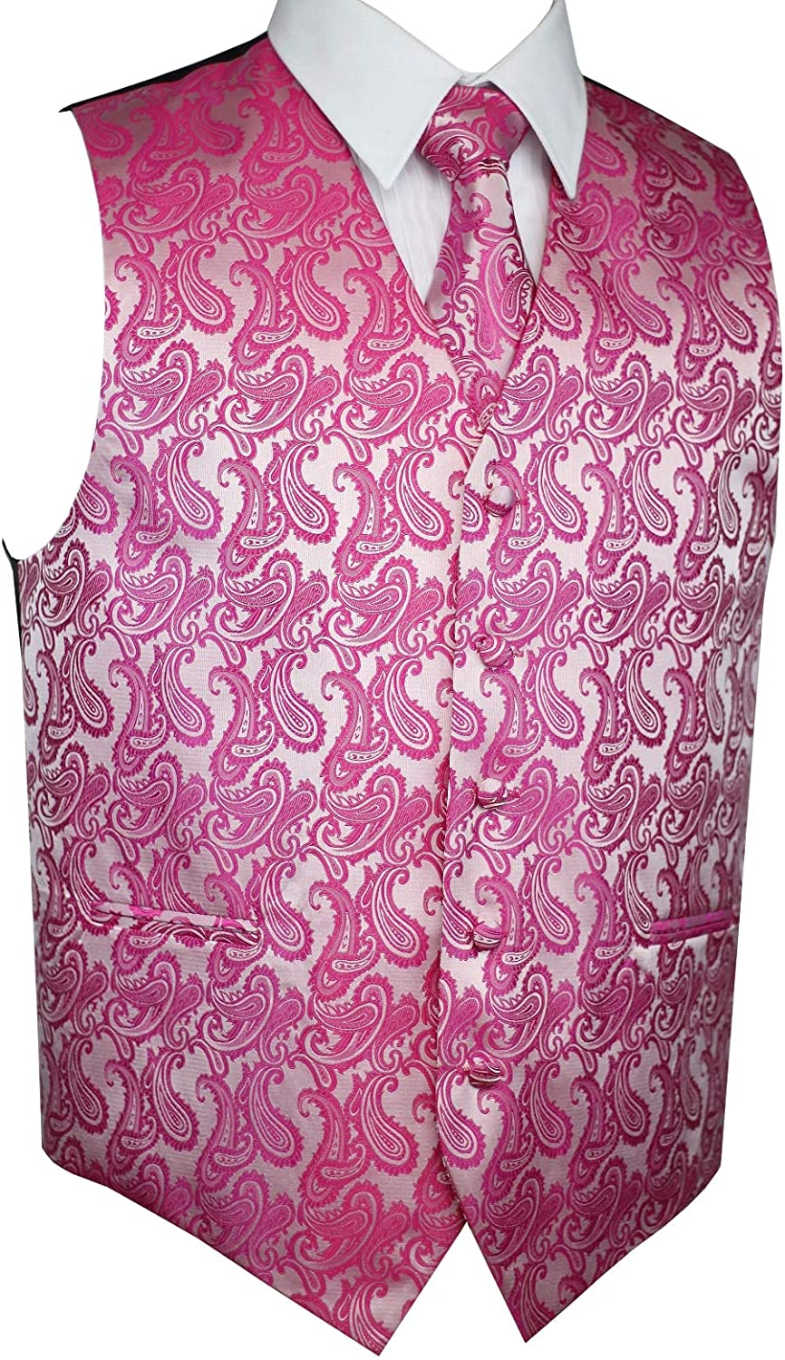 Brand Q Mens Formal Prom Wedding Tuxedo Vest Tie /& Hankie in Fuschia Paisley