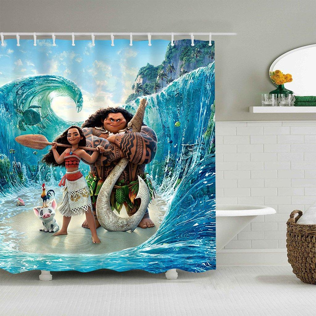 LIGHTINHOME Kids Moana Movie Shower Curtain Set Blue Ocean Funny Animal Shower Curtain Panel Polyester Waterproof Fabric 72 x72 Inches With 12-Pack PlasticShowerHooks