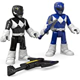 Fisher-Price – Imaginext – Power Rangers : Mighty Morphin – Ranger Bleu & Ranger Noir – 2 Mini Figurines
