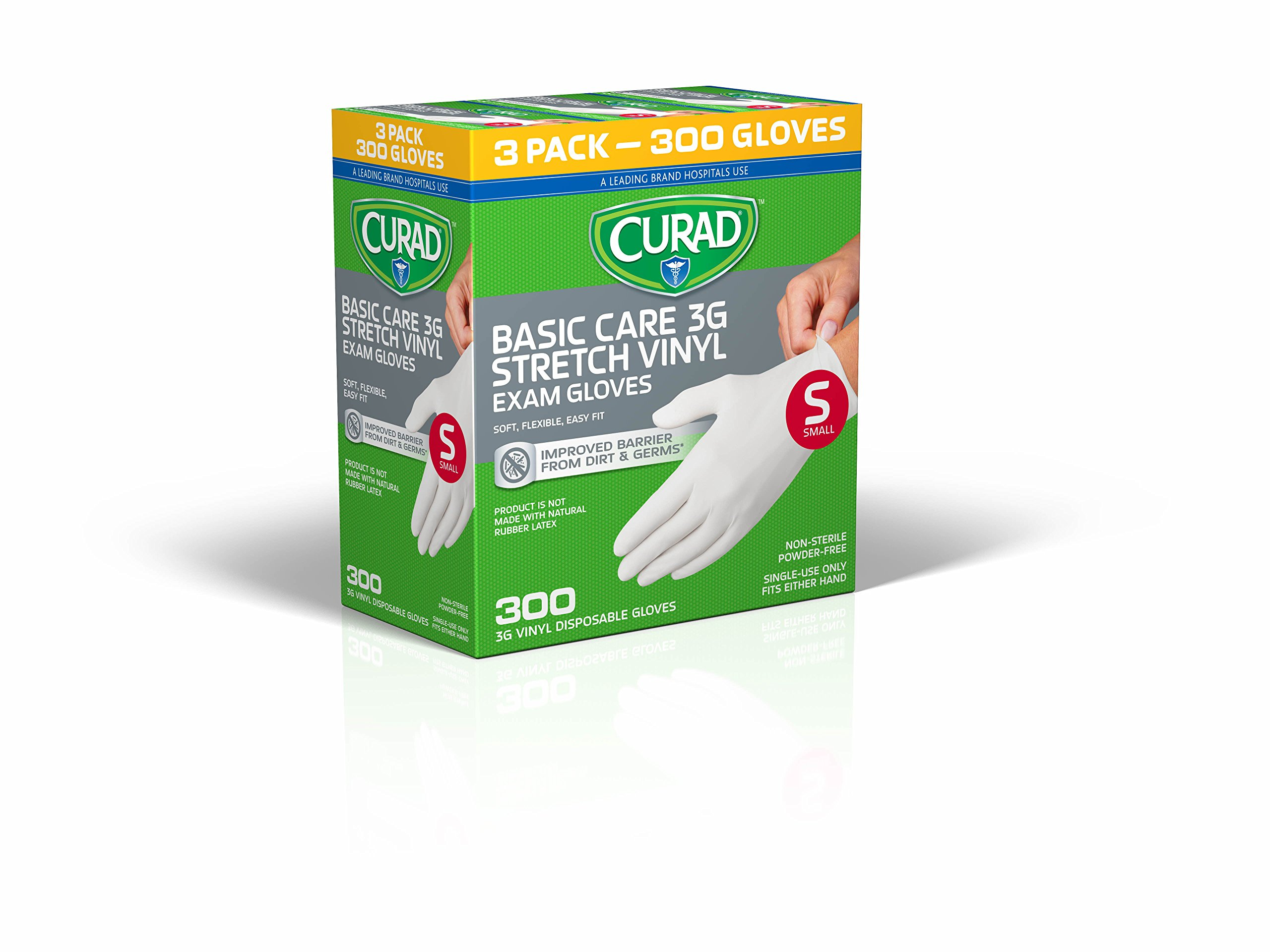 CURAD Disposable 3G Stretch Vinyl Exam Gloves, Small, 100 per Box (300 Count)
