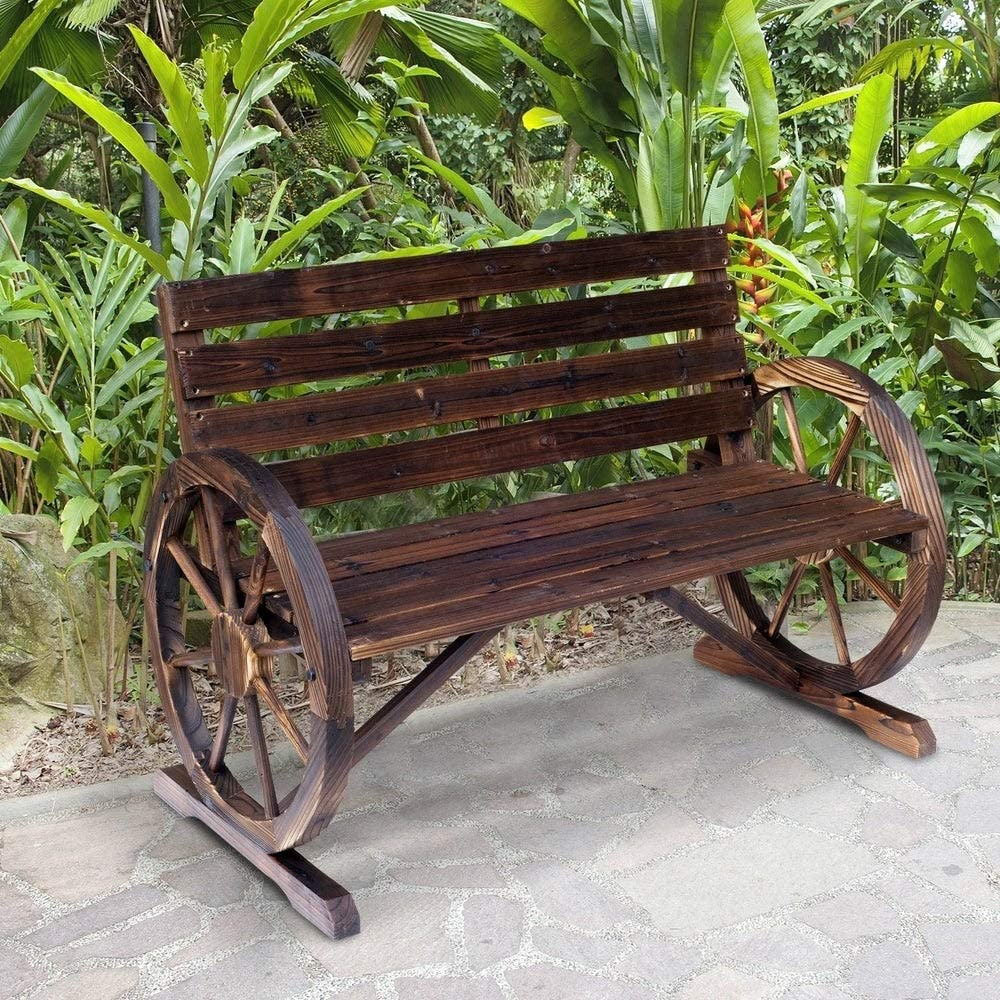 NA2 Outsunny Rustic Outdoor Patio Wagon Wheel Wooden Bench Chair, for Your Garden, Patio, or Entryway