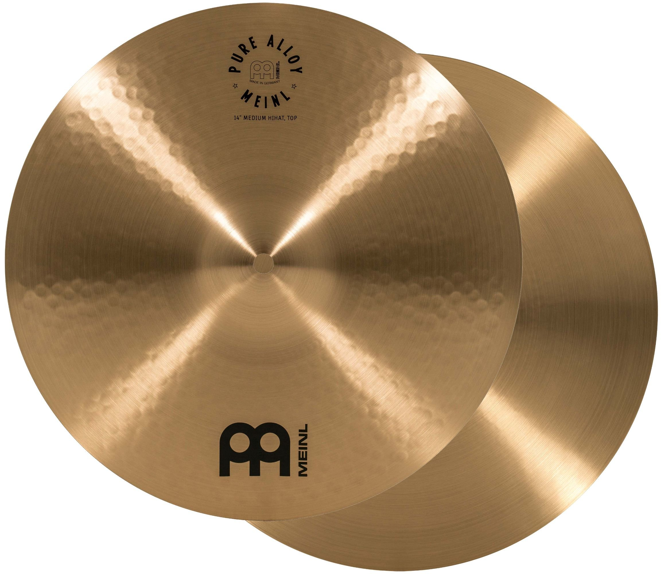 Meinl 14'' Medium HiHat (Hi Hat) Cymbal Pair - Pure Alloy Traditional - Made in Germany, 2-YEAR WARRANTY (PA14MH)