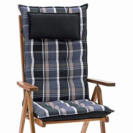 2 Auflagen für Hochlehner Sessel Stuhl Gartenmöbel Gartenstuhl Kissen uni grau