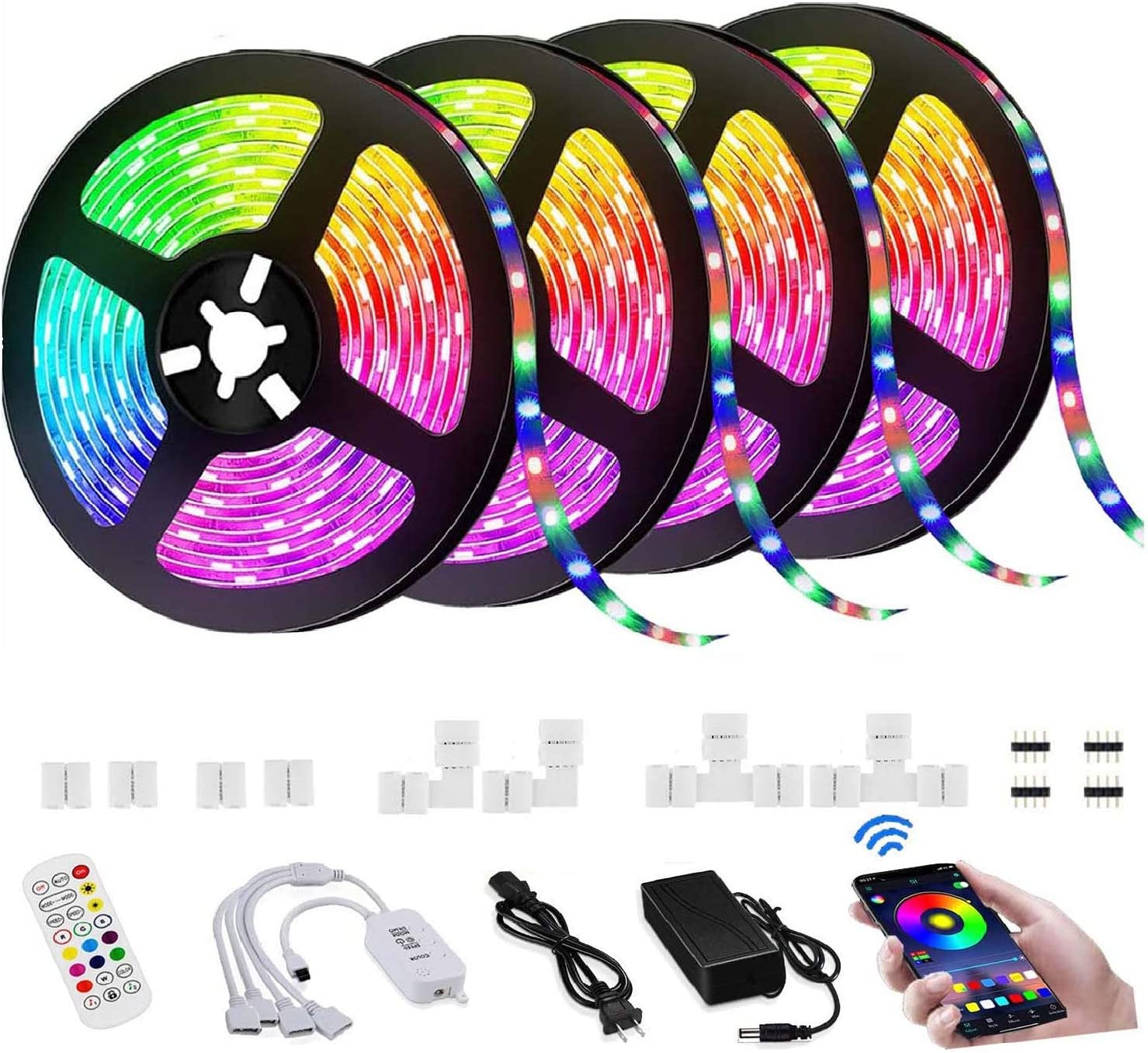 LED Strip Lights, 65.6FT/20M RGB Strip Lights Music Sync,Smart App Control,Remote,5050 RGB LED Light Strip Color Changing,Sensitive Built-in Mic,LED Strip Light for Home TV Party,Bedroom,Kitchen