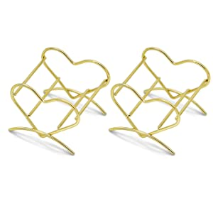 Ryalan Beauty Sponge Blender Holder Makeup Sponge Drying Stand Storage Egg Powder Puff Display Stand Beauty Tool Dryer Drying Rack (Gold, Rose, 2 Pack, Heart)