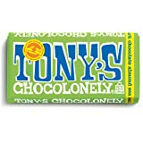 Tony's Chocolonely 51% Dark Chocolate Bar with Almonds and Sea Salt, 6.35 Ounce
