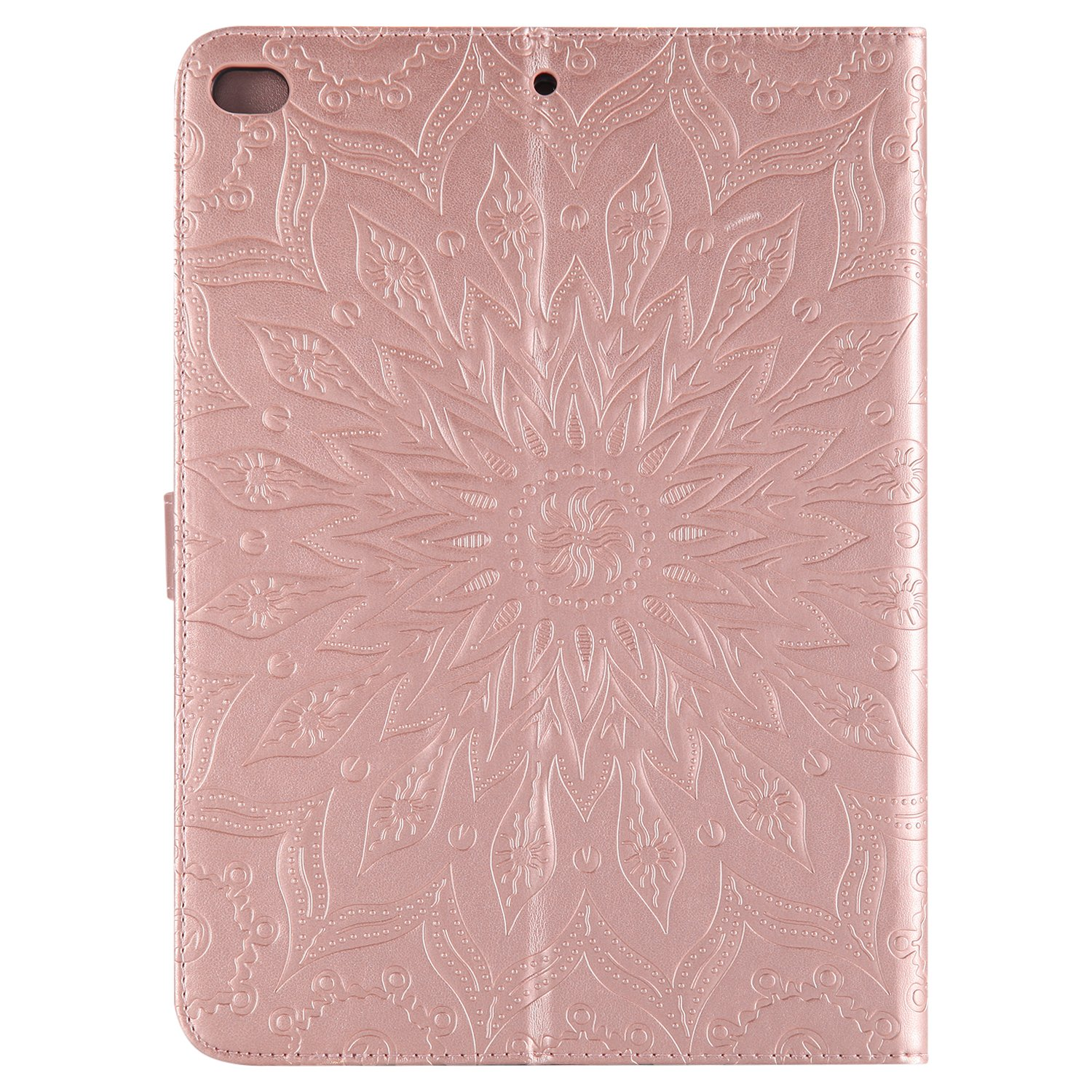 Cfrau for iPad Air 2//iPad Air Kickstand Wallet Case with Black Stylus,Cute Sunflower Mandala Embossed Smart Magnetic Flip PU Leather Card Slots Shockproof Soft Rubber Tablet Case,Red