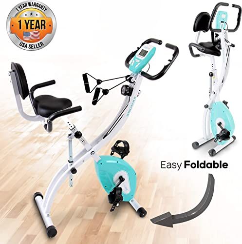 SereneLife Indoor Folding Stationary Exercise Bike - Foldable Stationary Bike Cycling Cardio Workout Equipment - Compact Home Bicycle Fitness Machine w 8 Resistance Level, Pulse Monitoring SLXB18