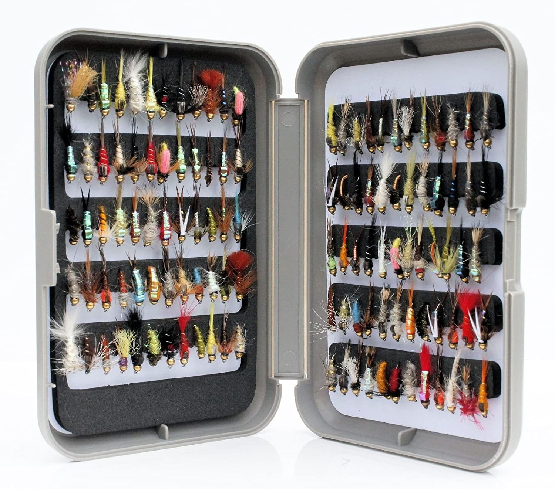Lakeland Fishing Supplies 10 25 50 oder 100 x gemischte Nymphen Forellenfliegen f/ür Fliegenfischen
