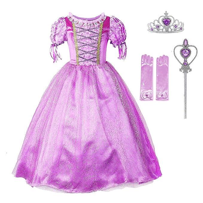 Amazon.com: Disfraz de princesa Rapunzel para niñas, de ...