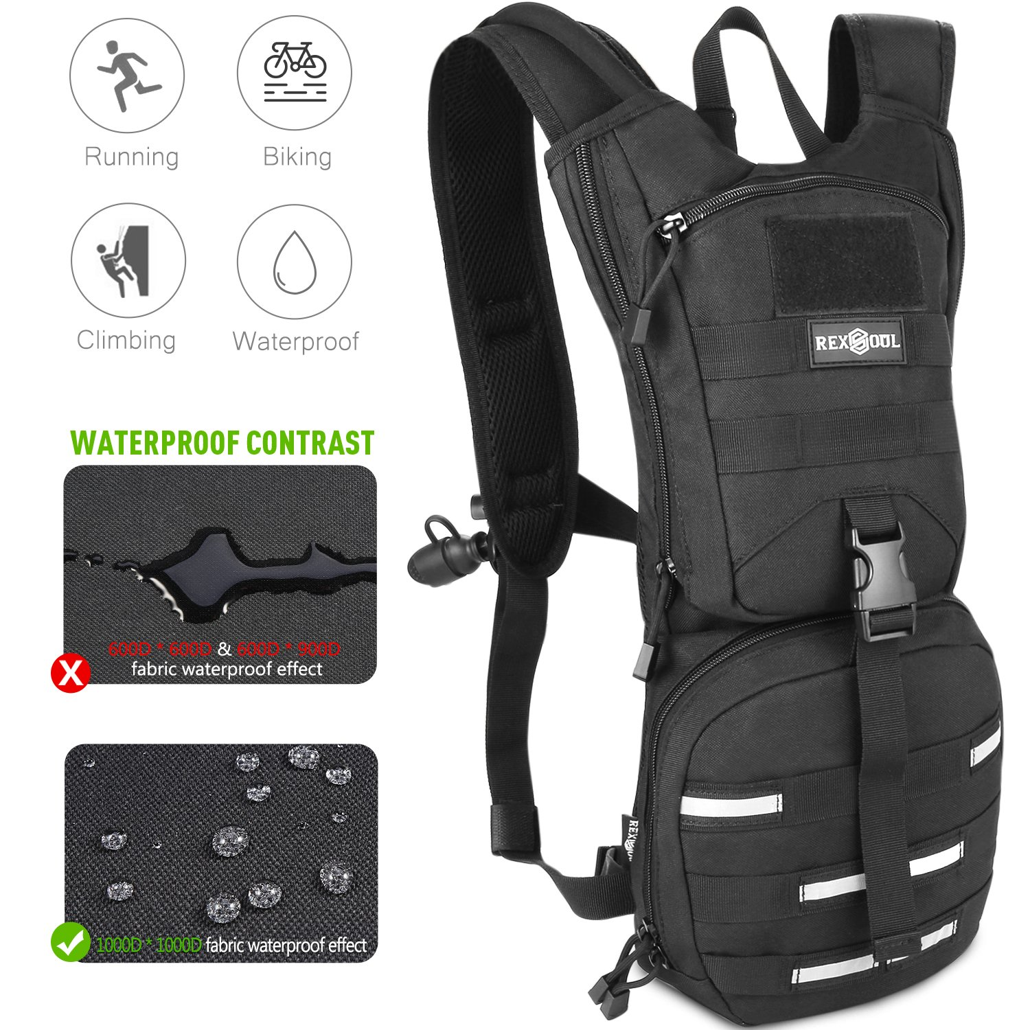 Rexsoul Hydration Backpack 1000 D with 2.5 L Bladder Leak-Proof BPA Free Water pack with Reflective Strips Design for Outdoor Sports Hiking | Running | Biking | Climbing | Walking | Cycling |Skiing
