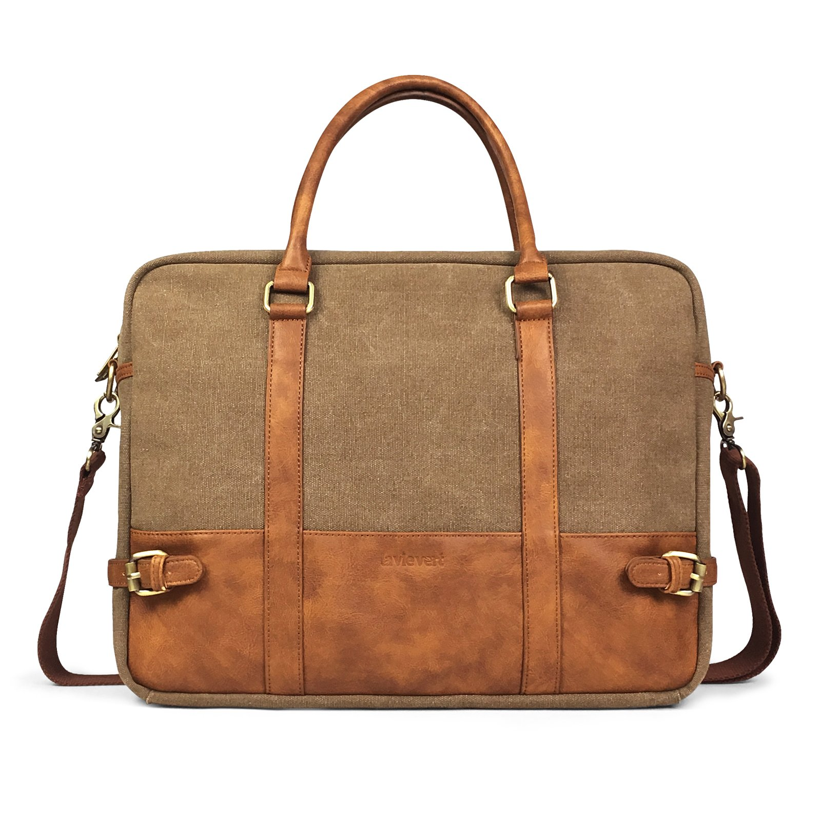 Lavievert Cotton Canvas and Crazy-Horse PU Leather Laptop Bag/Cross Body Shoulder Bag and Handbag 2 in 1 / Notebook Ultrabook Tablet Padded Case for Up to 15.6 Inch Laptop - Brown