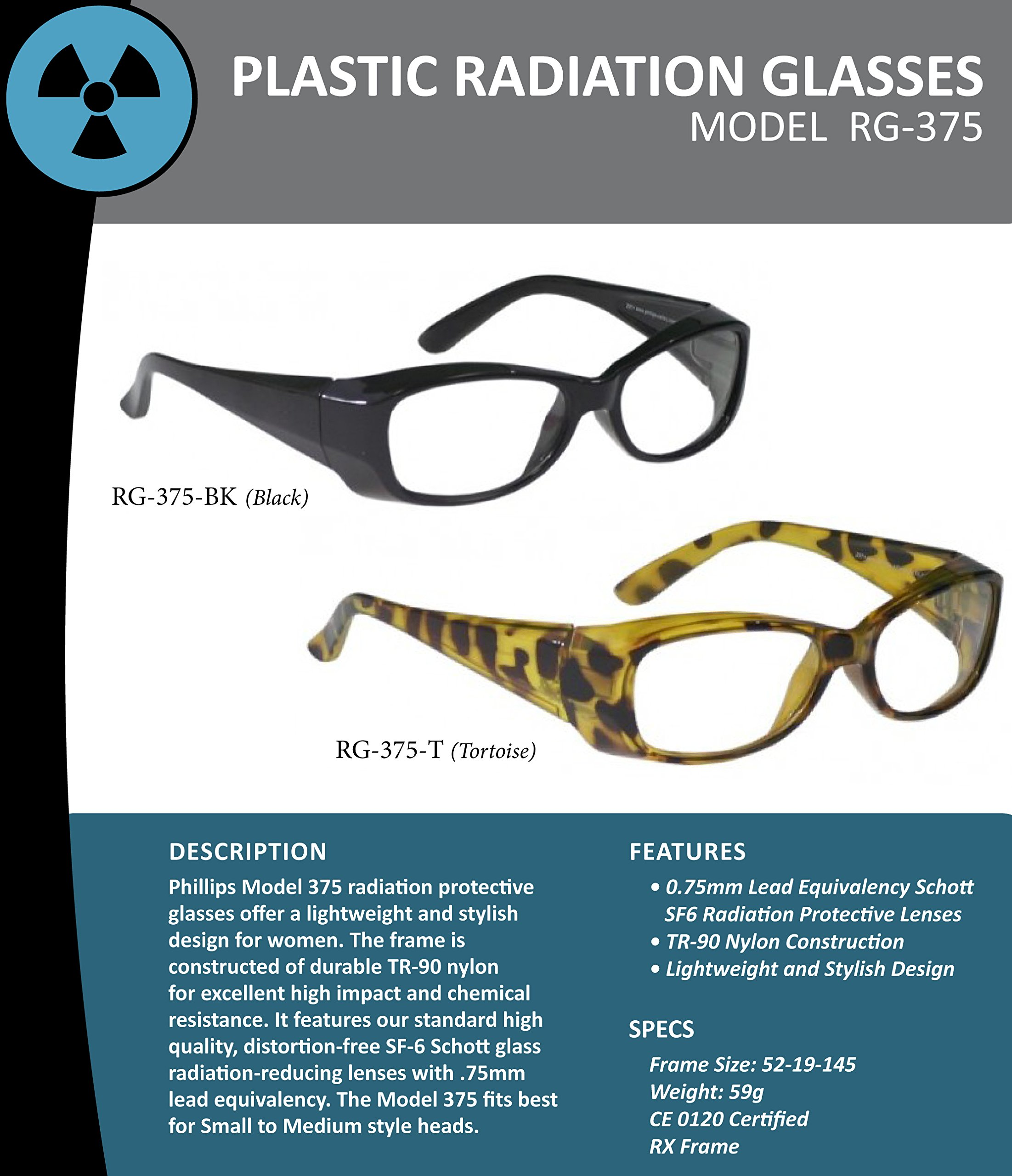 X-ray Radiation Leaded Protective Eyewear in Stylish, Lightweight and Comfortable Women's Plastic Safety Frame That Is Designed to Hug the Contour of Your Face Blocking Light From All Angles