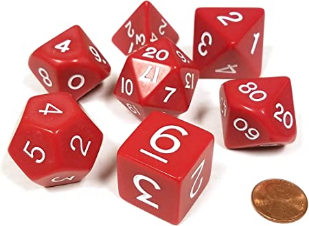 Red Jumbo Size 7 Pc Polyhedral Dice Set D4, D6, D8, 2xd10, D12, D20