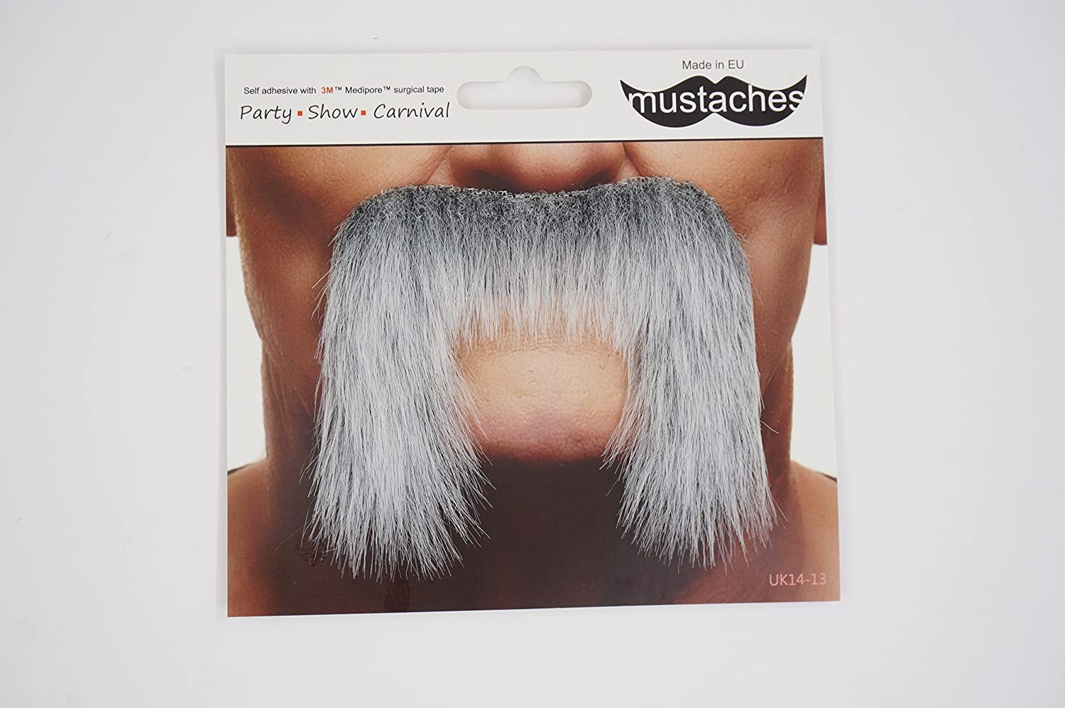 Self Adhesive Gray with White Colors Winnfield False Facial Hair Novelty Mustaches Fake Mustache