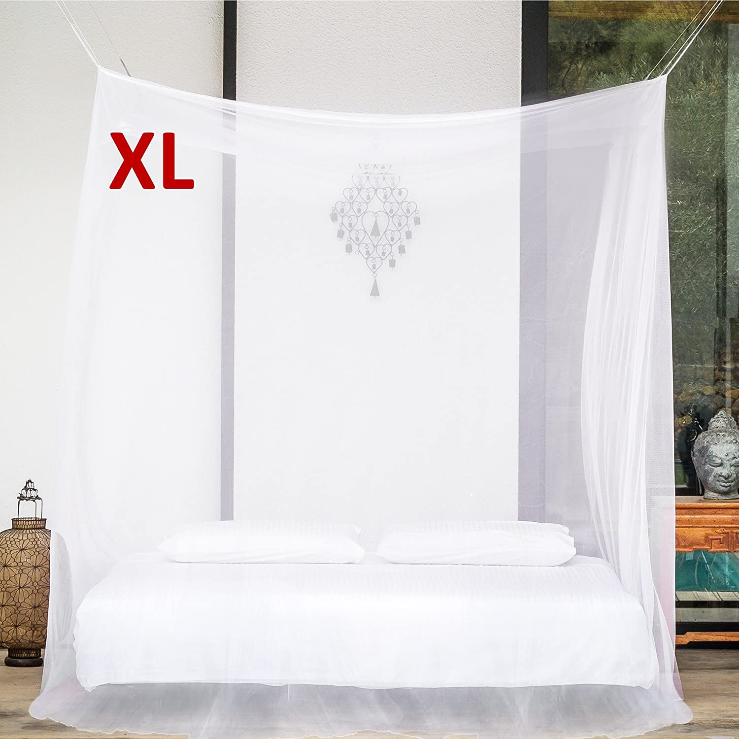 EVEN Naturals MOSQUITO NET for Bed Canopy, Tent for Full, Double to Super King Size, EXTRA LARGE Square Curtains, White Mosquito Netting with 2 Openings, Easy Installation, Carry Bag ENMNRLWN