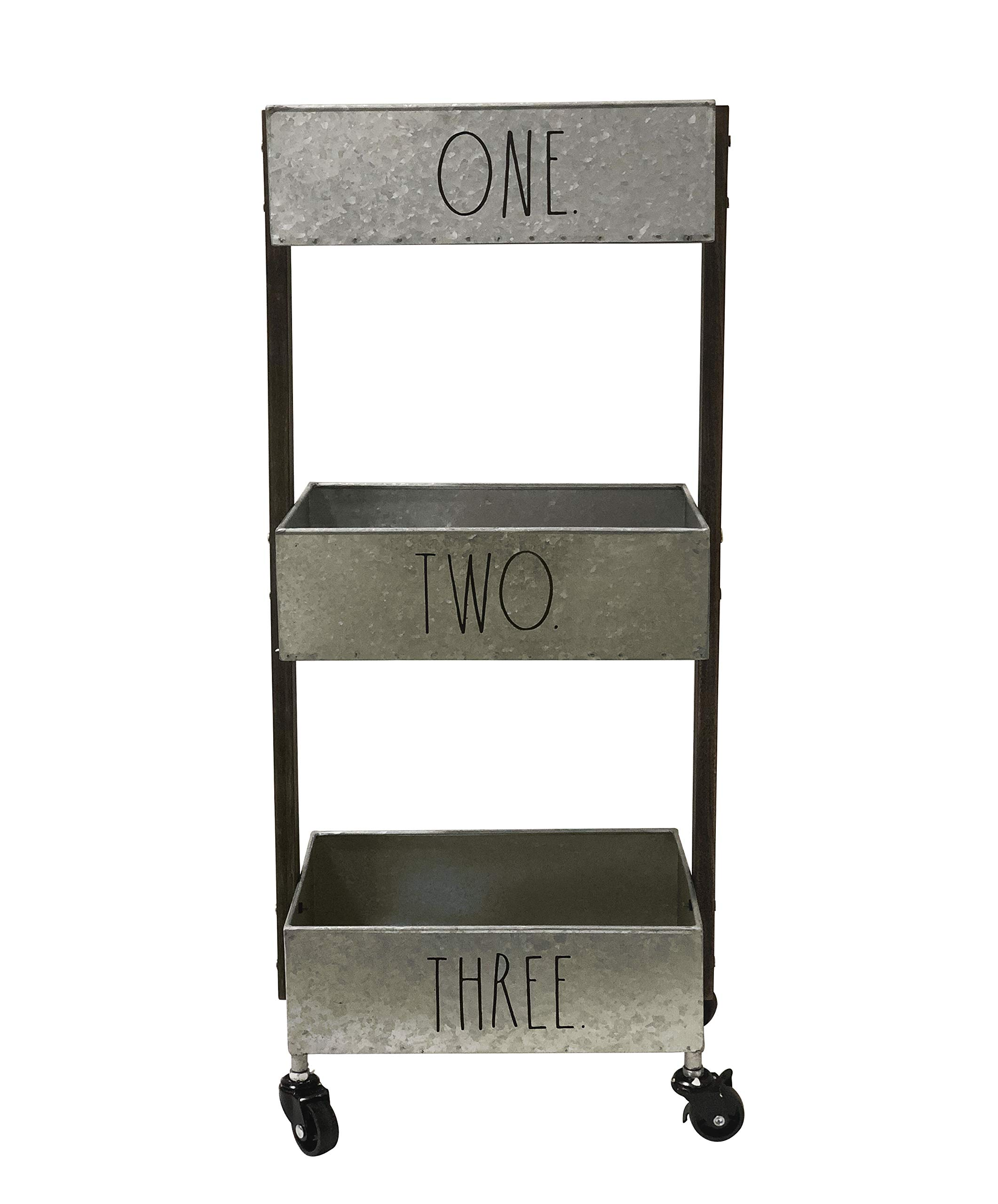 Rae Dunn 3 Tier Wheeled Organizer - Galvanized Steel Caddy with Wood Handle Accents - Chic and Stylish Portable Metal Storage Bin for Office, Home or Kitchen