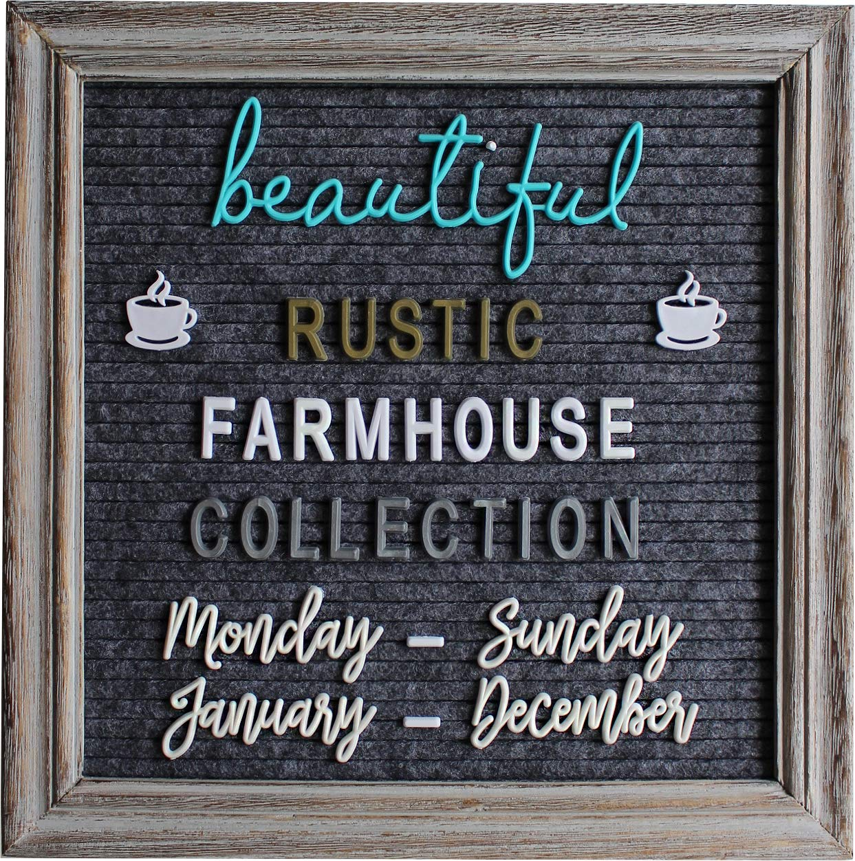 Rustic Felt Letter Board Barnwood Bundle Farmhouse Vintage Wood Frame and Stand by Felt Creative Home Goods 10x10 Inch Changeable Message Board 700+ Letter Set Numbers (10x10 Inches, Gray Gray) by Felt Creative Home Goods