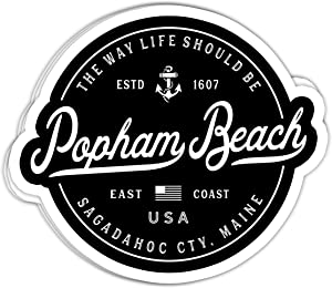 macknessfr Nautical Anchor Popham Beach Maine Travel Vacation - 4x3 Vinyl Stickers, Laptop Decal, Water Bottle Sticker (Set of 3)