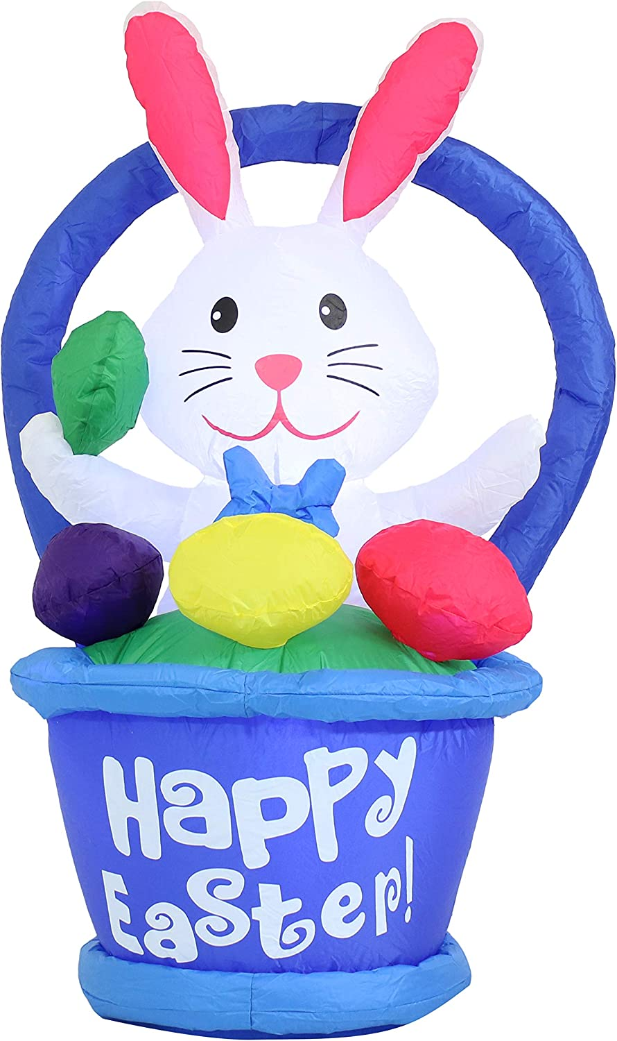 Sunnydaze Large Easter Inflatable Outdoor Decoration - 45-Inch Easter Bunny in Basket - Outdoor Celebration Blow-Up Yard and Garden Decor with Fan Blower and LED Lights