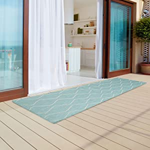 """Madison Park Azure Woven Turkish Indoor/Outdoor Area Rug for Backyard, Moroccan Tile, Home Décor, Weather Resistant Floor Mat, Easy to Clean Patio Rugs, Deck Carpets, 2'7"""" x 6'10"""" Runner, Aqua/White"""