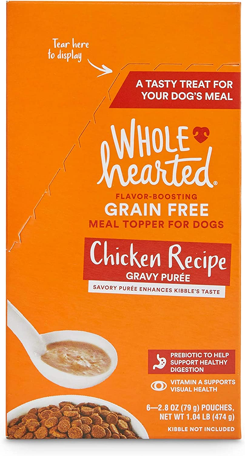 WholeHearted Grain-Free Chicken Recipe Gravy Puree Wet Dog Meal Topper, 2.8 oz., Case of 6, 6 X 2.8 OZ