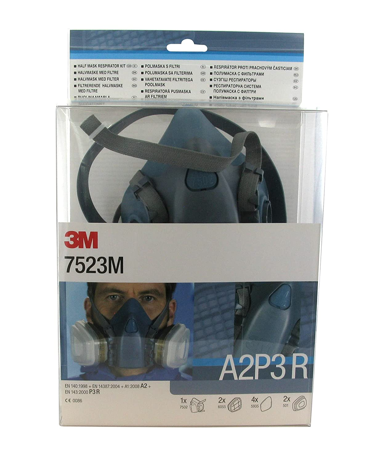 Underbar 3M 7523M Reusable Premium Single Half Mask with A2P3 Filter ZX-06