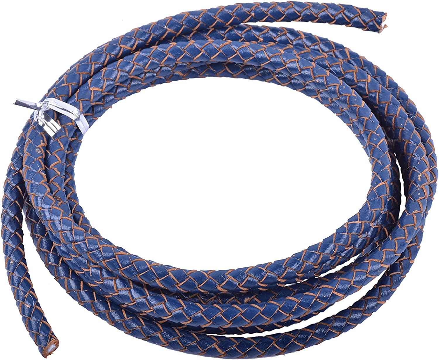 KONMAY 2 Yards 4.0mm Royal Blue Genuine Leather Braided Bolo Leather Cord