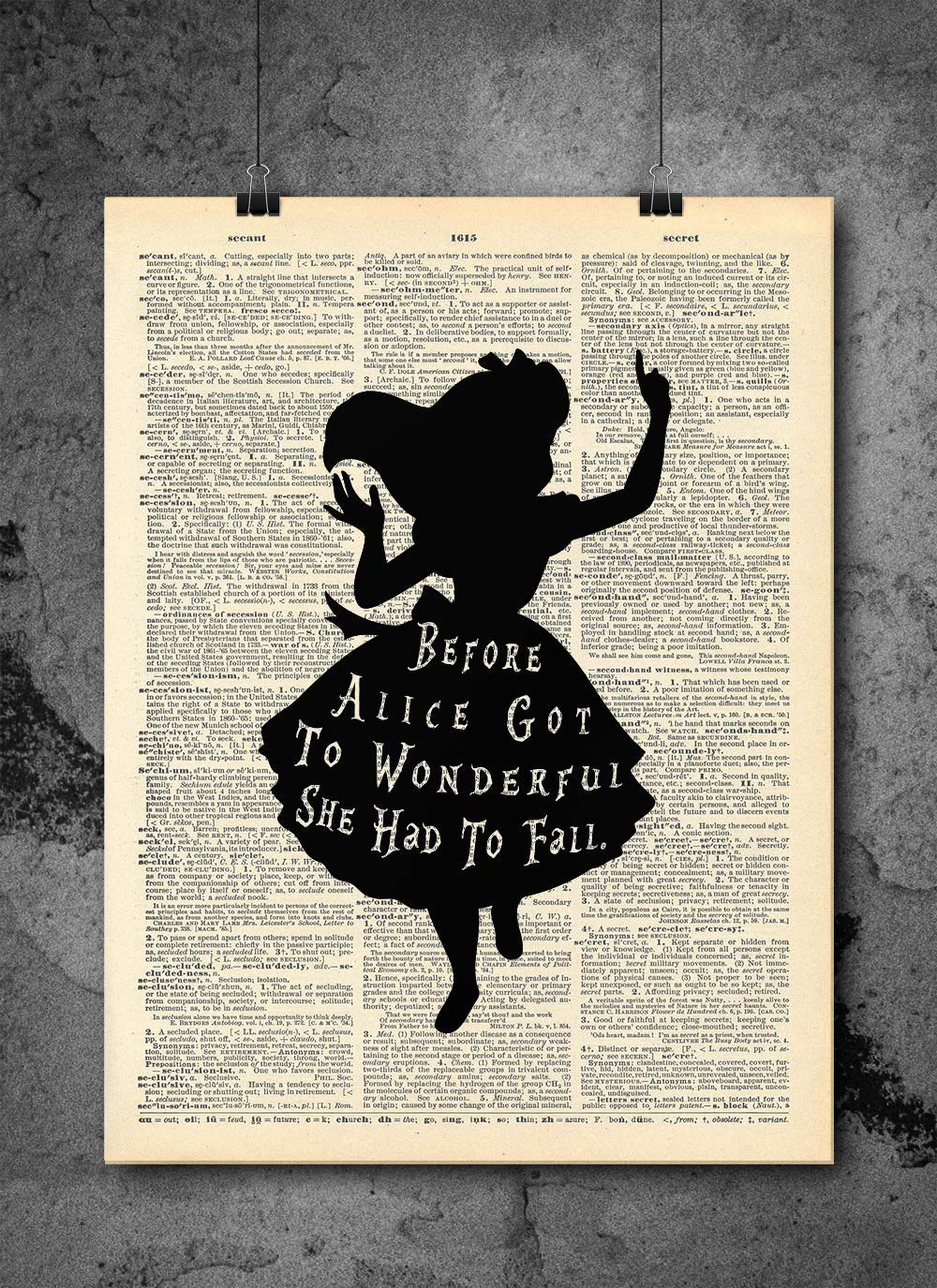 Alice In Wonderland - Wonderful Quote - Alice In Wonderland Wall Art - Vintage Art - Authentic Upcycled Dictionary Art Print - Home or Office Decor - Inspirational And Motivational Quote Art