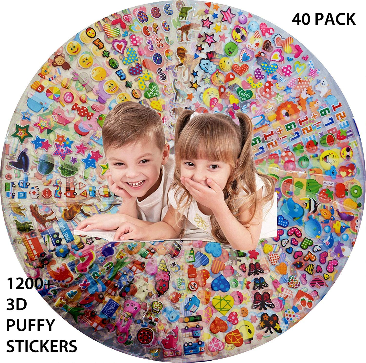 Scrapbooking Animals Including Cartoons Cars Toddlers Fruits vegetables Stickers for Kids 40 Sheets No Repeat 3D Puffy and More Girls Teachers Bulk stickers for Girl Boy Birthday Gift