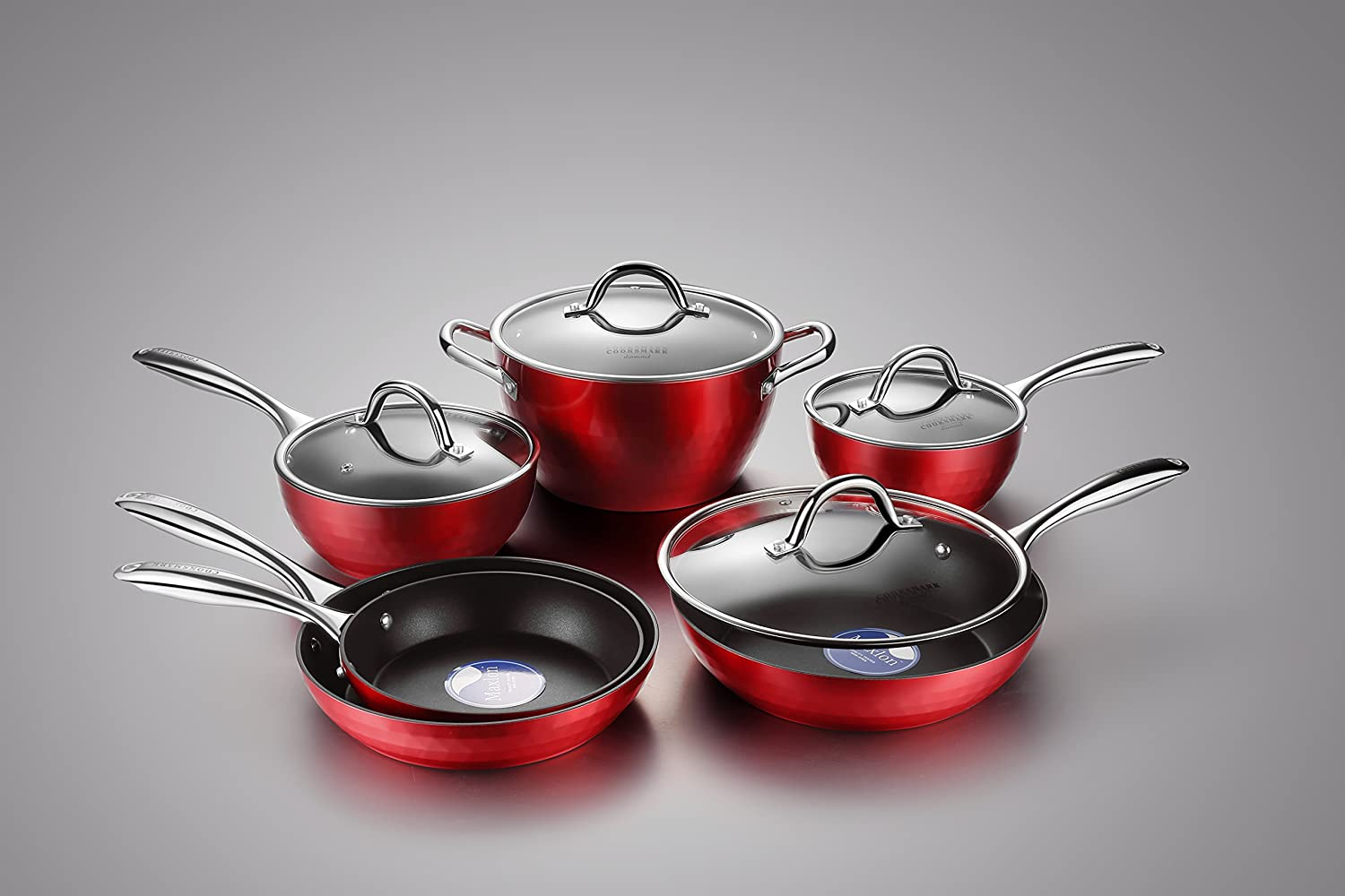Cooksmark Induction cookware Diamond-Infused Nonstick Cookware Set, Scratch-Resistant Pots and Pans Set with Glass Lids, Dishwasher Safe Oven Safe 10-Piece, Red DD702