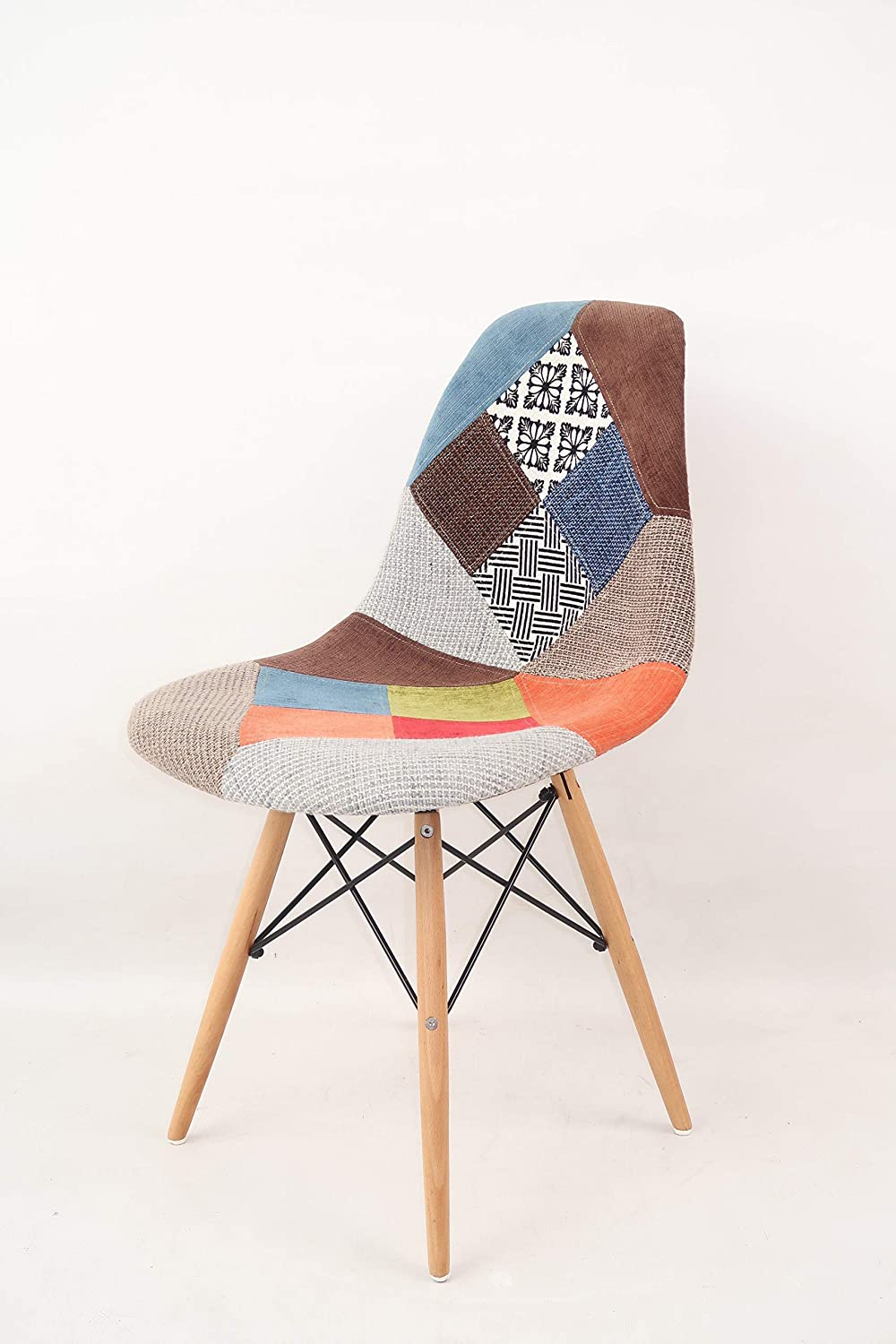 MOF Patchwork Chair Dining Chair or Office Chair or Occasional Chair  Beautiful Fabric Combination modern Retro Chair (WITHOUT ARMS) (10)