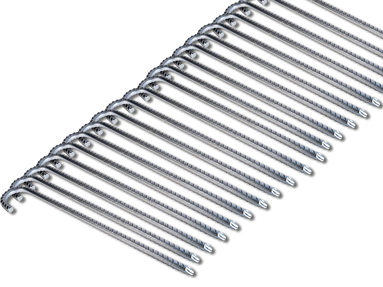 K&B Grünrieb Bodenanker XL Heringe 38cm Silber Erdnagel Erdanker Erdspieß Bauanker Nagel Zelt Zelthering 300 (20 Stück)