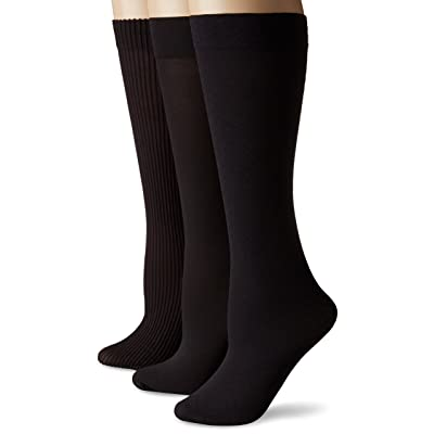 No Nonsense Women's Wardrobe Trouser Sock 3-Pack, Black, One Size at Women's Clothing store