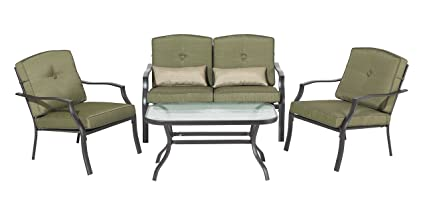 Backyard Classics Cypress 4 Piece Patio Seating Set With Sofa Chairs,  Loveseat, And