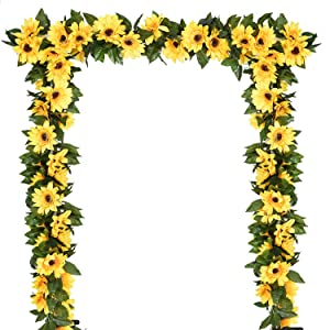 DearHouse 2 Pack Artificial Sunflower Garland Silk Sunflower Vine Artificial Flowers with Green Leaves Wedding Table Decor