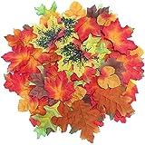 Luxbon circa 100 Autunno artificiale in legno d'acero, autunno, multicolore, motivo: foglie Autunnali-Cristalli Acrilici Decorativi, da Tavolo per Matrimoni, Feste, Motivo