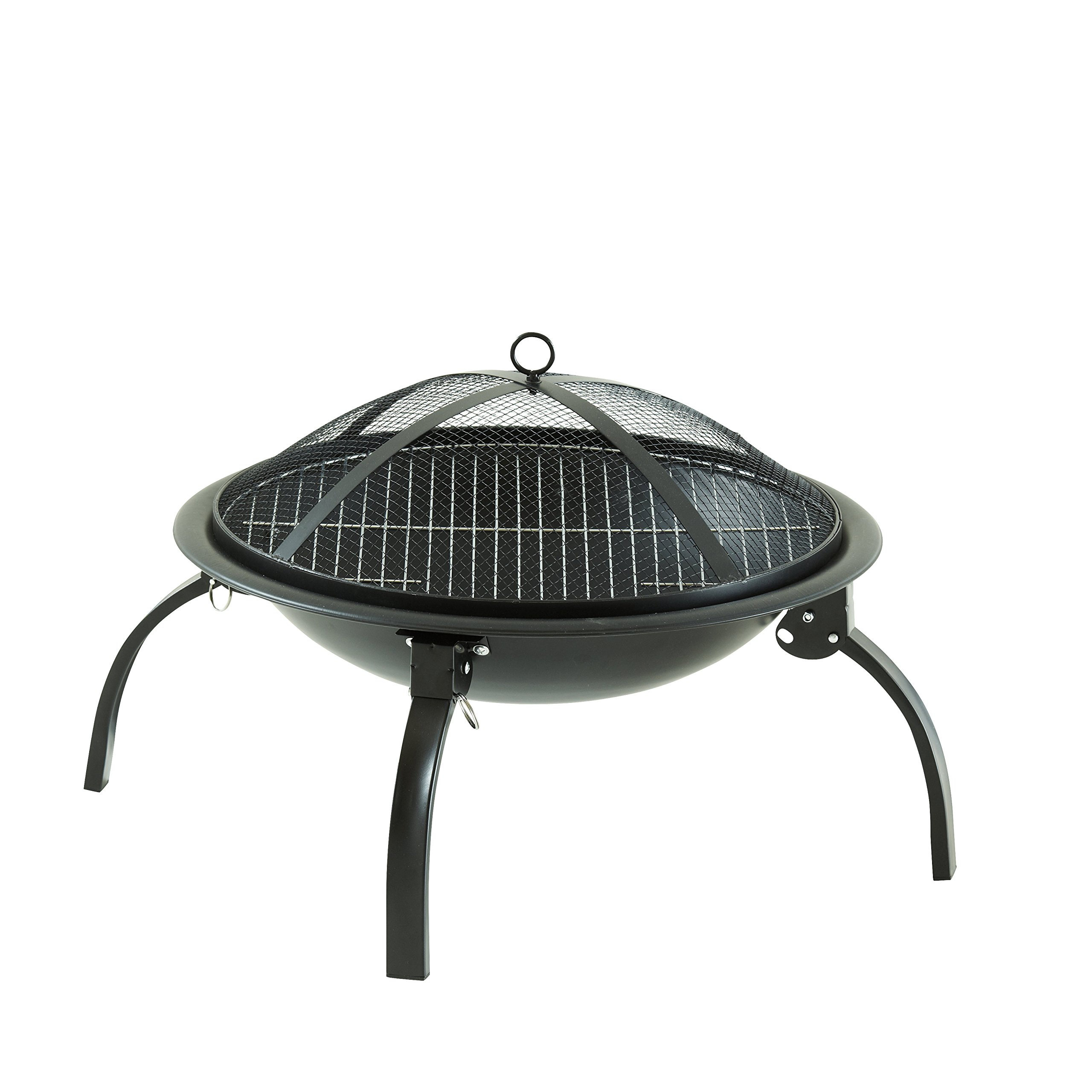 Bulit-in Grate for Camping Picnic Bonfire Patio Backyard Garden Beaches Park YDYG Outdoor Fire Pit 22 Steel BBQ Grill Fire Pit Bowl with Mesh Spark Screen Cover