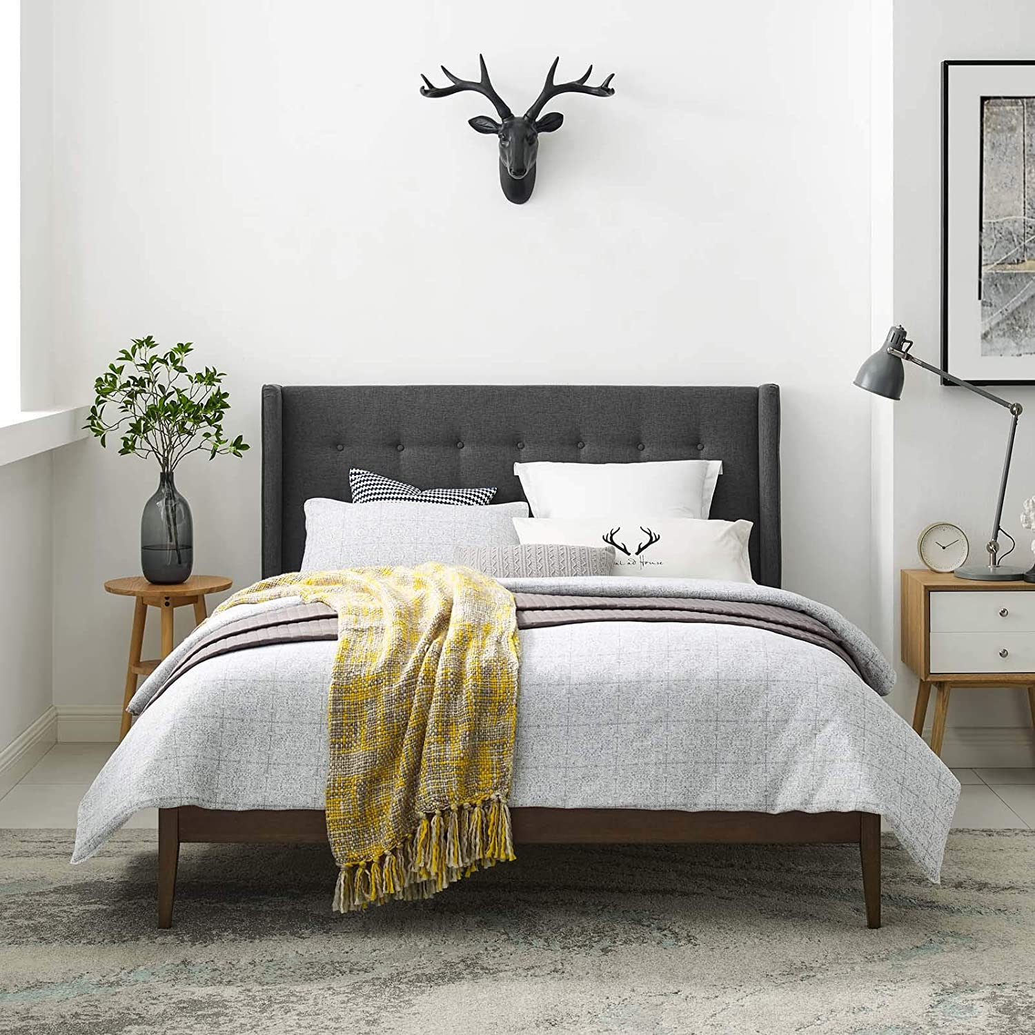 Modway Hadley Tufted Upholstered Wingback Queen Platform Bed in Gray