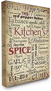Stupell Industries Kitchen Spice Typography Canvas Wall Art, 24 x 30, Design by Artist Carole Stevens
