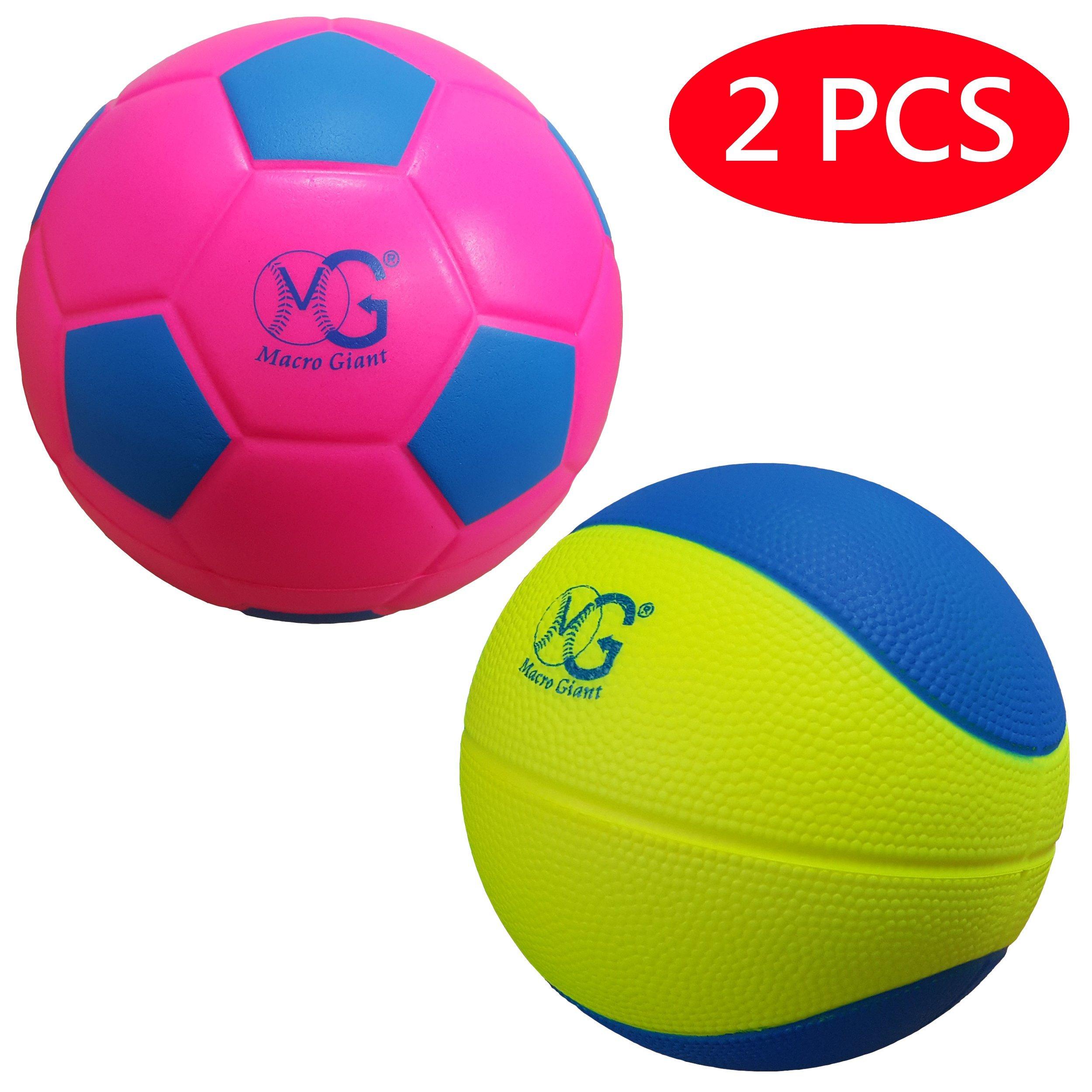 Macro Giant 7.5 Inch (diameter) Foam Basketball-Soccer Pack, Set of 1 Soccer & 1 Basketball, Neon Colors, Kid Sports Toys, Kickball, Playground ball,Kid Toy ,Birthday Gift