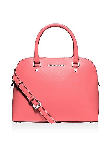 5dca66e96e93 Michael Michael Kors Cindy Medium Dome Satchel (Coral)  Handbags ...