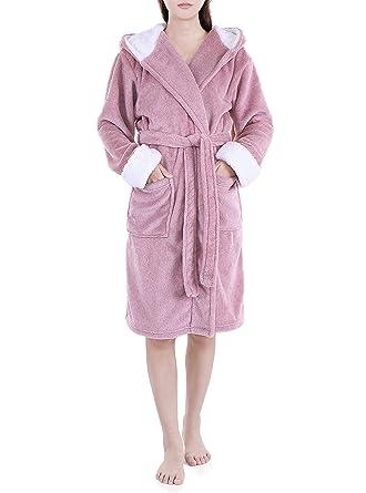 2049ad888e14c Genuwin Luxe Doux Peignoir pour Femme en Polaire Douce Robe De Chambre  Polaire Peignoir de Bain Doux